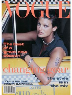 FASHION FLASHBACK: A tattooed Linda Evangelista hangs out of a New York City cab on Vogue's September 1992 cover -