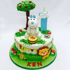 Goat 1st birthday Cake Jungle theme