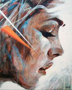 Time flies - Abstract Portrait Paintings by Danny O'Connor | Cuded