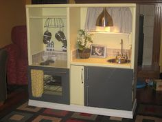 You could even make this into an entertainment center turned workbench for boys Childrens Play Kitchen, Diy Play Kitchen, Kid Kitchen, Play Kitchens, Repurposed Furniture, Kids Furniture, Kids Workbench, Creative Outlet, Furniture Makeover