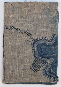 "K A T H R Y N C L A R K: Ogallala Aquifer Depletion detail, 2014. One of four 4"" x 6"" indigo dyed linen textiles with embroidery and ink. Upper left piece."