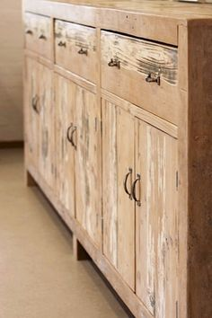 Sideboard constructed from recycled timber including customer's up-cycled pergola timber. Raw Furniture, Rustic Furniture, Furniture Making, Farmhouse Table, Sideboard, Cabinets, Pergola, Home Decor, Armoires