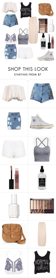 """""""Styling White Converse (summer/hipster)"""" by annabelle-perez-donate on Polyvore featuring Miss Selfridge, Converse, Topshop, Maybelline, Little Barn Apothecary, Essie, New Look and River Island"""