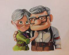 Ellie and Carl, painted by a friend - disney wedding drawing Up Pixar, Disney Up, Cute Disney Drawings, Cute Drawings, Drawing Disney, Up Carl Y Ellie, Vieux Couples, Disney Canvas Art, Disney Paintings