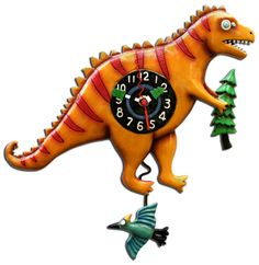 Roooooar! Dinosaur clock with pendulum teradon / pterodactyl. Check our site for availability. www.kinksandquirks.com $59