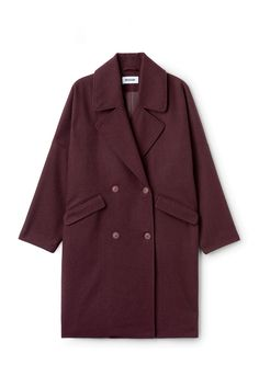 Weekday image 6 of Cilla Coat in Red Dark Red Winter Coat, Winter Coats Women, Coats For Women, Purple Coat, Wrap Coat, Double Breasted Coat, White Denim, Shirt Jacket, Lapels