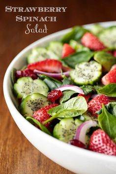 Strawberry Spinach Salad is pretty as a picture. The Basil Dressing and Sweet, Spicy Glazed Pistachios are the crowning glory! Spring Salad, Summer Salads, Summer Food, Gourmet Recipes, Cooking Recipes, Healthy Recipes, Keto Recipes, Healthy Salads, Healthy Eating