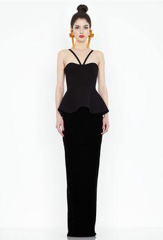 Hopper Black Peplum Maxi Dress AQ/AQ