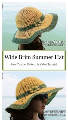 Wide Brim Summer Hat Free Crochet Pattern and Video Tutorial #freecrochetpatterns