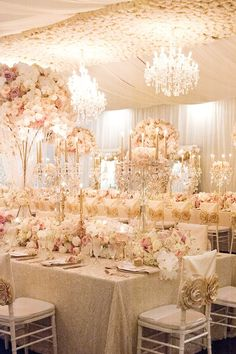 Luxury white and blush wedding reception by Karen Tran | Ted and Li Photography | See more: http://theweddingplaybook.com/luxurious-wedding-reception-inspiration/