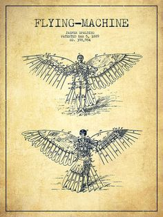 Patent Drawing for R. J. Spalding's Flying Machine, March 5, 1889