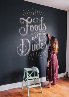 chalk lettering inspiration from Lauren Hom of Chalkboard Lettering, Chalkboard Designs, Chalkboard Paint, Chalkboard Drawings, Kitchen Chalkboard Quotes, Chalk Typography, Chalk Wall Paint, Chalk Art, Types Of Lettering
