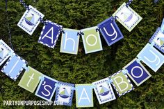 Ahoy It's a Boy Nautical Baby Shower Decorations  - Banner