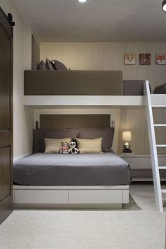 46 Fabulous Kids Bunk Beds Design Ideas That You Need To Try - Parents love buying bunk beds for their kids if they are sharing a room. The stacked beds are ideal for bedroom with small space. Bunk beds have been . Bunk Bed Rooms, Bunk Beds For Boys Room, Bunk Beds Built In, Modern Bunk Beds, Kid Beds, Queen Bunk Beds, Bunk Beds For Adults, Cool Bunk Beds, Built In Beds For Kids