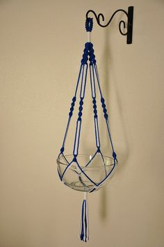 Hand Crafted Macrame Plant Hanger Royal Blue and by macramemarket, $11.49