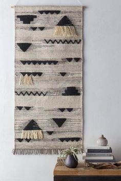 Hand-woven by master artisans, the simultaneously contemporary and ethnic aesthetic of the Asgard Wall Hanging adds a creative accent to your wall of choice. The rich, textured weaving features fringe Textile Tapestry, Tapestry Weaving, Hanging Tapestry, Wall Tapestry, Tapestries, Weaving Textiles, Weaving Art, Loom Weaving, Hand Weaving