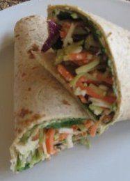 Veggie Hummus Wrap Recipe  (low fat & low calorie recipe)