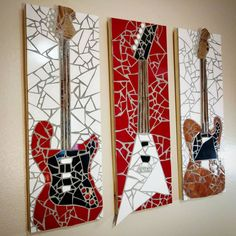 Stunning texture and light reflection on these rad mosaic electric guitars on wood tall x wide Fender Stratocaster and Telecaster with a sweet Jackson Randy Rhoads Half Flying V. Imperial red glass tile, real wood neck and gemstones. Mosaic Wall Tiles, Mirror Mosaic, Mosaic Art, Mosaic Glass, Mosaic Crafts, Mosaic Projects, Glass Wall Art, Stained Glass Art, Vitromosaico Ideas