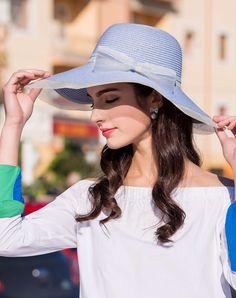 #AdoreWe #VIPme Hats & Caps - Designer Thantrue Light Blue Elegant Wide Brim Summer Holiday's Floppy Sun Hat - AdoreWe.com