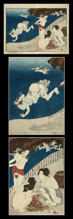 """Awabi Divers at the Seashore"", Utagawa Kunisada. #Japanese. (1786 – 1865)"