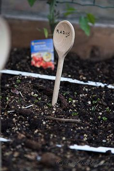 Garden Markers from Wooden Spoons by Songbirdblog