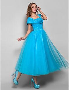TS Couture® Cocktail Party / Homecoming / Holiday Dress - Vintage Inspired / 1950s Plus Size / Petite Ball Gown Straps Tea-length Tulle with Ruching – USD $ 99.99