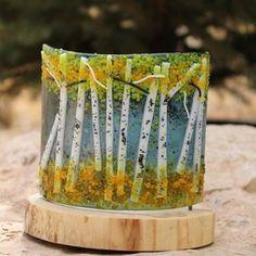 Aspen Fused Glass Votive by Anna Carrillo