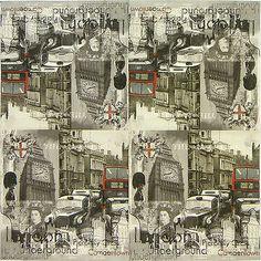 4x Single Table Party Paper Napkins for Decoupage Decopatch Vintage Cities mix