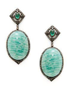 Emerald Geometric Cutout & Amazonite Oval Drop Earrings