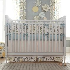 Spa Pom Pon Play Crib Skirt - baby bedding - atlanta - Carousel Designs
