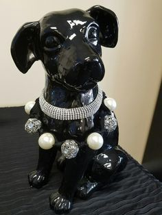 Rhinestone choker and large bauble necklace with grosgrain ribbon-all on our fabulous dog model! Rhinestone Choker, Dog Modeling, Grosgrain Ribbon, Chokers, Retro, House, Home, Retro Illustration