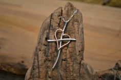 Sterling Silver and Copper Promise Cross Necklace by silverjenn