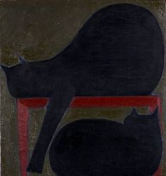 Will Barnet    Two Cats (Red Chair)