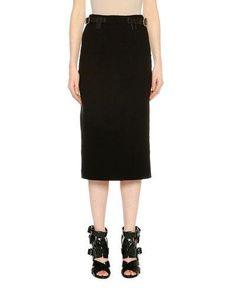 TOM FORD Belted Pencil Midi Skirt, Black. #tomford #cloth #
