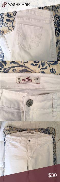Hollister white denim jeans White straight leg denim jeans, worn once, EUC! Hollister Jeans Straight Leg