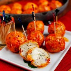 Buffalo Chicken Meatballs - ummm (click image for recipe)