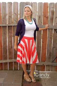 More stripes! Love them! This is another super cute skirt I would love to make. I just need to know where these lovely ladies buy their fabric. Jo-Anne's only has ugly striped fabric. Internet shopping time!