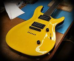 """""""McLaren Yellow' Kiesel Guitars Carvin Guitars"""