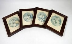 4 Vintage Framed French Engravings of the The Seasons of Love