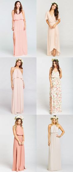 This mix of blush dresses, cream colored dresses, peach dresses, and soft blush and pink floral bridesmaid dresses illustrates how to expertly mix blush and neutral bridesmaid dresses. Bridesmaid Dresses Marsala, Cream Bridesmaids, Neutral Bridesmaid Dresses, Blush Dresses, Wedding Bridesmaids, Wedding Dresses, Cream Dresses, Dresses Dresses, Floral Bridesmaids