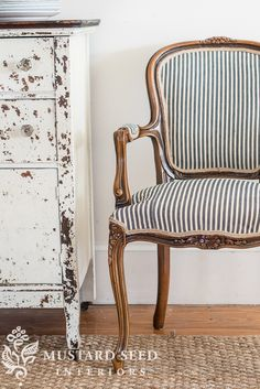 the ticking chair & the rushed stool - Upholstery Ideas Reupholster Furniture, Chair Upholstery, Upholstered Chairs, Tufted Sofa, Furniture Refinishing, Chair Fabric, Settee, Chair Cushions, Chair Makeover