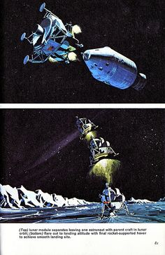 Apollo Lunar Landing Module separates from the Command Module and then landed on the Moon.