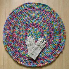 25 inch, round crochet rug, stunning multicolour, handmade, upcycled, eco, carpet, recycled #handmade #handmade