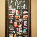 Year of Firsts chalkboard picture gallery. Easy and cheap way to display all your baby's first experiences for their first birthday!