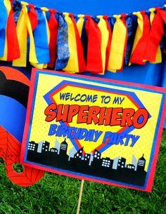 SUPERMAN Birthday  5 Signs  Super Hero party by KROWNKREATIONS, $3.99