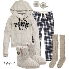 Plaid Pjs by taytay-268 on Polyvore featuring Victoria's Secret, Jack Wills, Carolee, ankle booties, plaid and cable knit socks