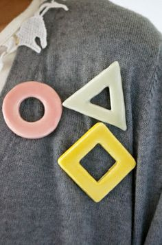 Geometric Ceramic Pins! How cute!