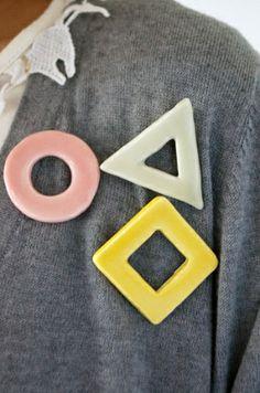 Geometric Ceramic Pins! How cute!