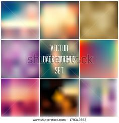 Abstract vector blurred unfocused backgrounds collection - stock vector