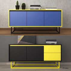 eighties inspired, block colour, side board: storage unit.